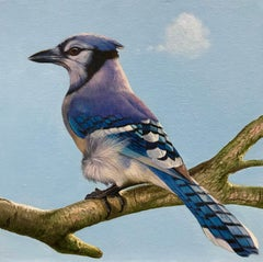 Bird Thinking of a Cloud #13 - Animal, Original, Blue, Painting, Wildlife