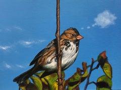 Bird Thinking of a Cloud #14 - Animal, Original, Blue, Painting, Wildlife