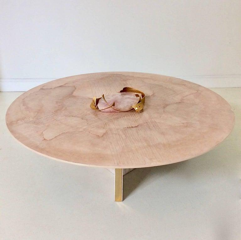 Mid-Century Modern Marc D'Haenens Unique Coffee Table with Pink Quartz, circa 1980, Belgium For Sale