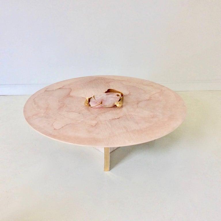 Belgian Marc D'Haenens Unique Coffee Table with Pink Quartz, circa 1980, Belgium For Sale