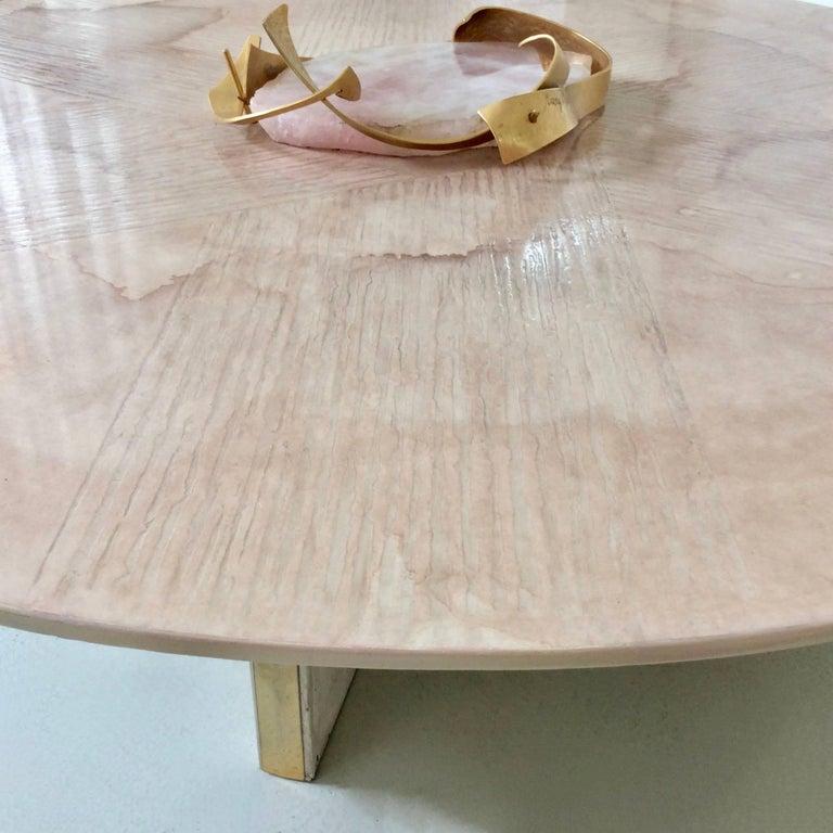 Marc D'Haenens Unique Coffee Table with Pink Quartz, circa 1980, Belgium For Sale 1