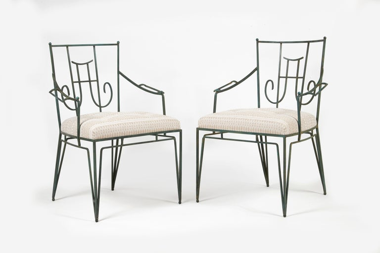 Art Deco Marc du Plantier, a Bench and Two Armchairs in Wrought Iron, circa 1936 For Sale