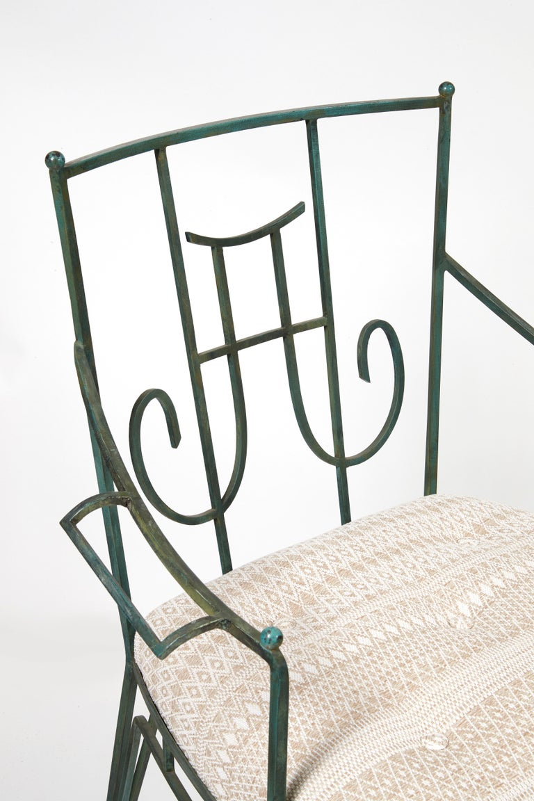French Marc du Plantier, a Bench and Two Armchairs in Wrought Iron, circa 1936 For Sale
