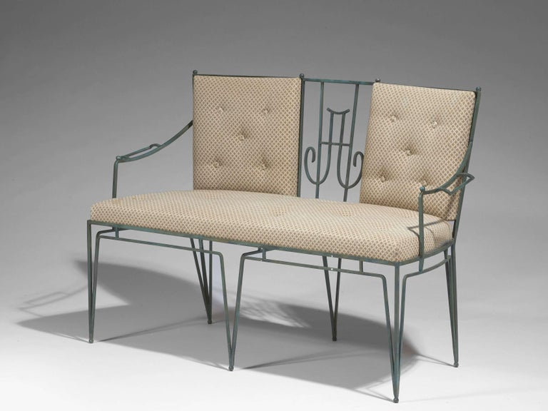Marc du Plantier, a Bench and Two Armchairs in Wrought Iron, circa 1936 In Good Condition For Sale In Paris, FR