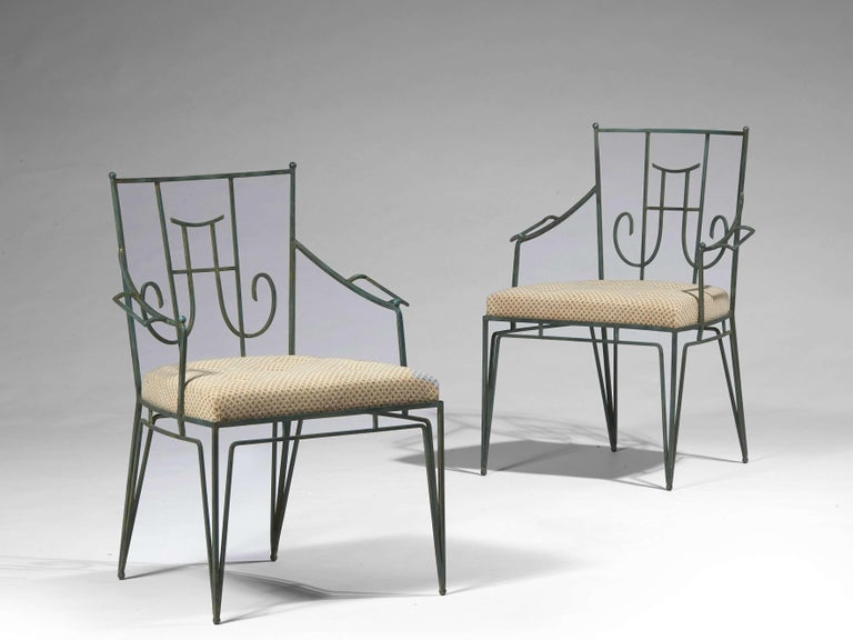 Mid-20th Century Marc du Plantier, a Bench and Two Armchairs in Wrought Iron, circa 1936 For Sale