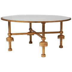 "Marc du Plantier Low Round Table ""Papyrus"" with Gilt Iron Base, circa 1935"