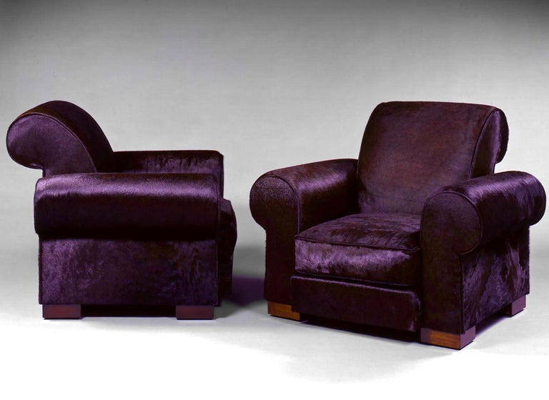 French Marc du Plantier, Rare Pair of Comfortable Armchairs, circa 1936 For Sale