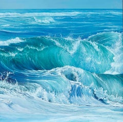 Beautiful Blue Wave Contemporary Oil Painting 'Surfers Dream' by Marc Esteve