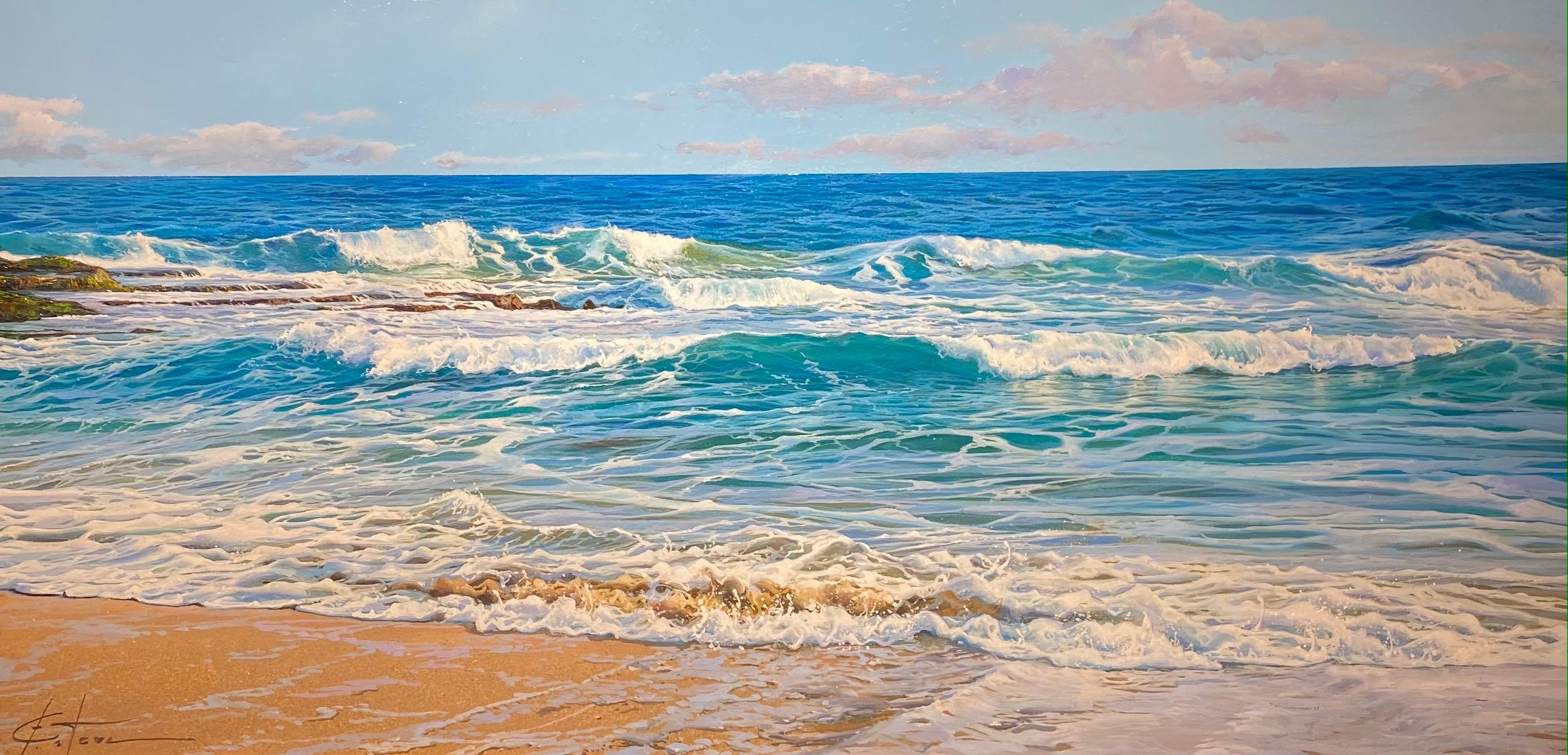 'Bubbling Reef' Contemporary Realist Seascape painting of waves, sand & sea