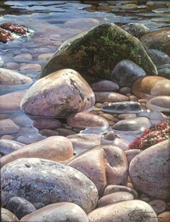 Contemporary Realist Seascape Painting 'Rockpool'  by Spanish artist Marc Esteve