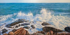 Crashing Seascape Painting with waves on the rocks 'White Horses' & blue water