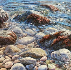 'Glistening Pebbles I' Photorealist Seascape Painting of Pebbles, Rocks,Sunshine