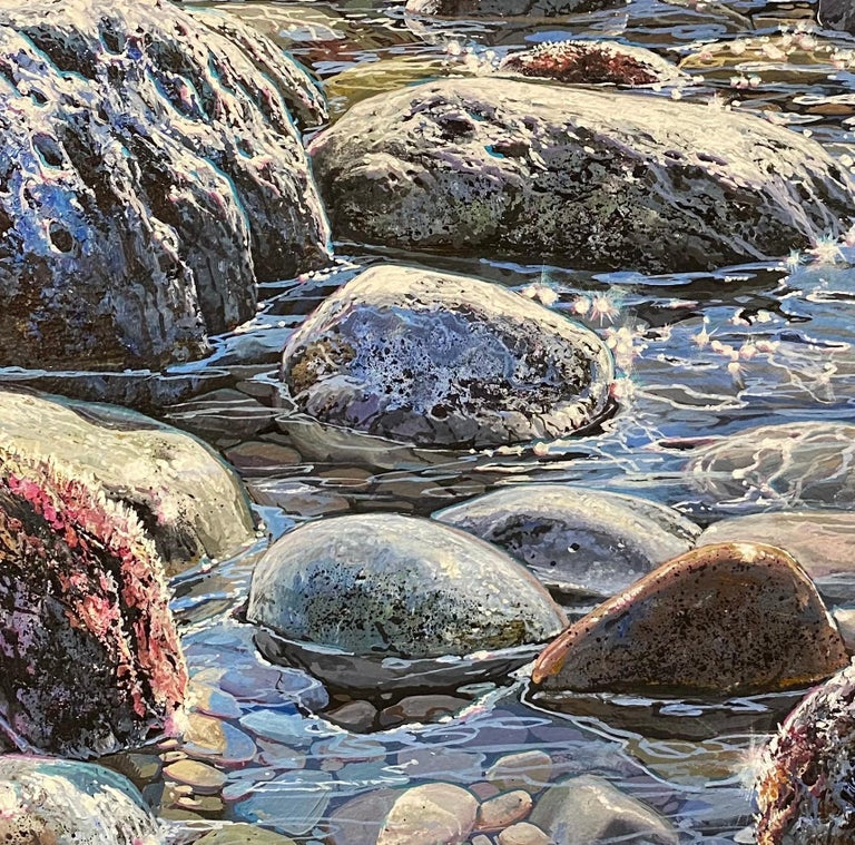'Glistening Pebbles II' Photorealist painting of rocks and pebbles on the beach - Painting by Marc Esteve