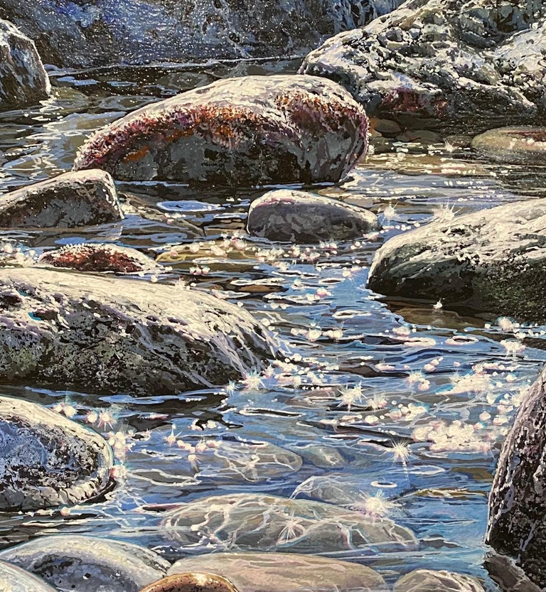 'Glistening Pebbles II' Photorealist painting of rocks and pebbles on the beach - Gray Landscape Painting by Marc Esteve