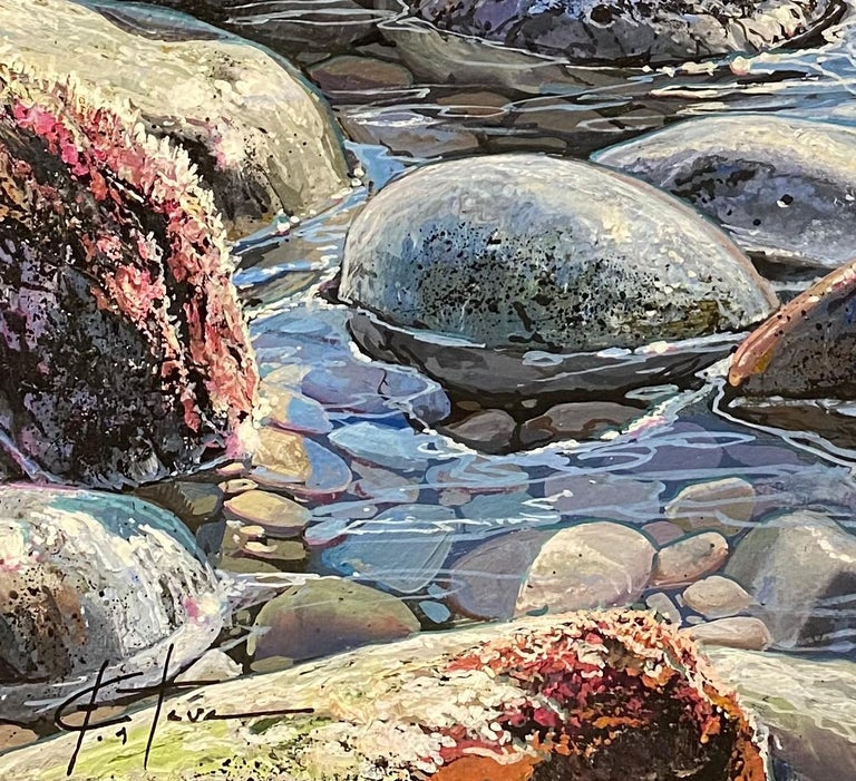 'Glistening Pebbles II' truly conveys Esteve's amazing attention to detail.You can Looking at it, you can almost smell the sea air and feel the salt on your eyelashes, you almost want to reach out and touch the stunning rocks. The sun sine and