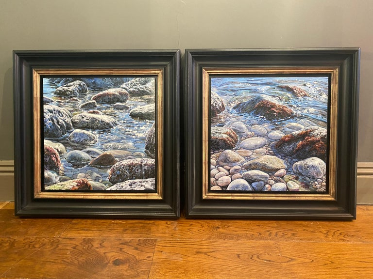 'Glistening Pebbles II' Photorealist painting of rocks and pebbles on the beach For Sale 1