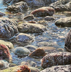 'Glistening Pebbles II' Photorealist painting of rocks and pebbles on the beach
