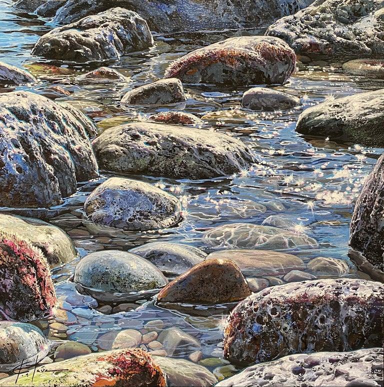 Marc Esteve Landscape Painting - 'Glistening Pebbles II' Photorealist painting of rocks and pebbles on the beach