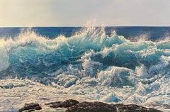 'Mighty Surf' Blue Powerful Realist Wave Seascape painting with rocks & horizon.