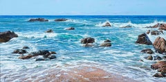 'Oregon Coast' Hyperrealist Painting of the sea and rocks. Vivid Blue colour