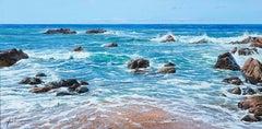 'Oregon Coast' Hyperrealist Painting of the sea and rocks. Vivid Blue colour
