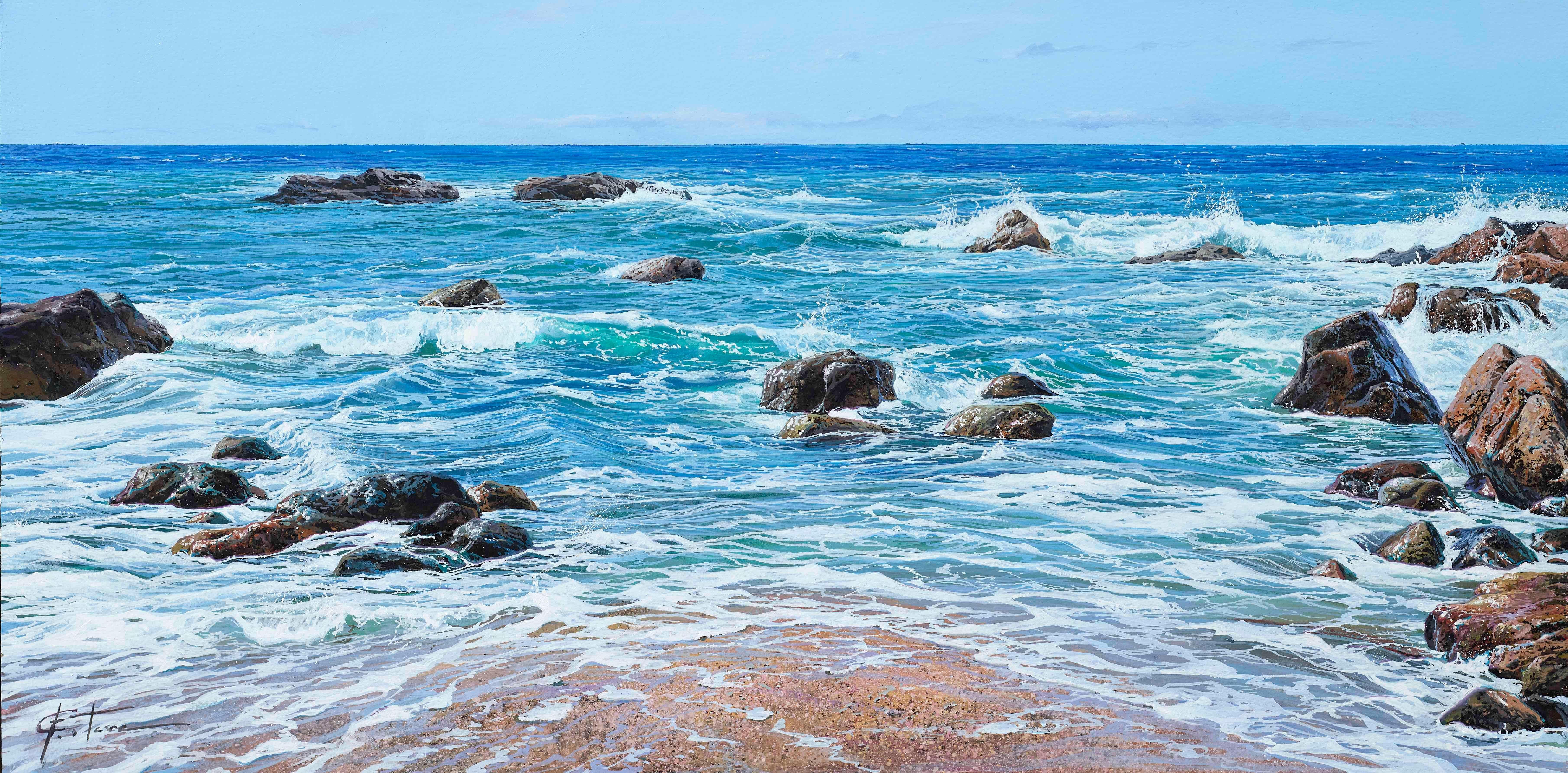 'Atlantic Coast' Hyperrealist Painting of the sea and rocks. Vivid Blue colour