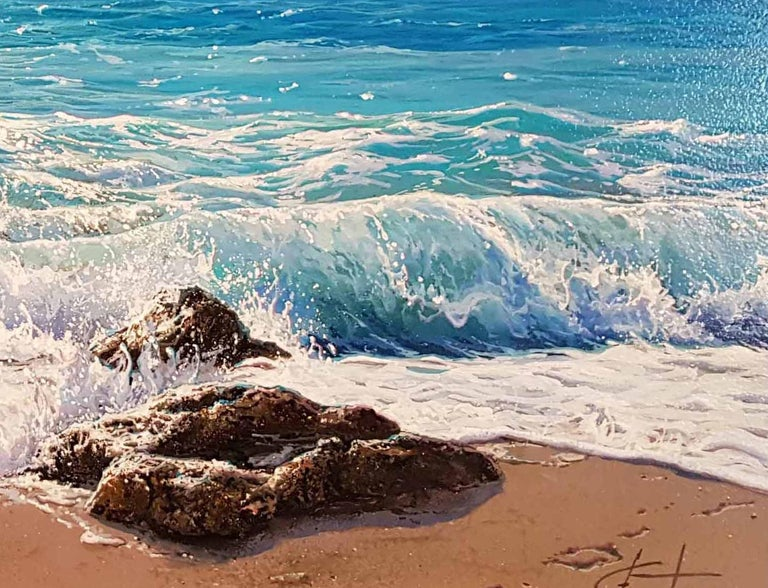 Photo- Realist Contemporary Seascape Painting by Marc Esteve 'Water's Edge' 3