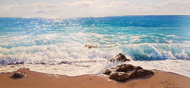 'Waters Edge' truly conveys the power of the ocean. The sun glistens on the sea's surface, the water buzzes with its dormant strength, you can hear the waves thumping on the rocks and feel the sun toasting your skin; such is the detail in Esteve's