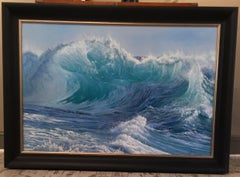 Photorealist Contemporary Seascape  Oil Painting by Marc Esteve 'Green Room'