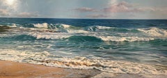 Realist Contemporary Seascape Painting by Marc Esteve 'Bubbling Reef' Beach