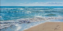 Realist Contemporary Seascape Painting by Marc Esteve 'Footprints on the Beach'