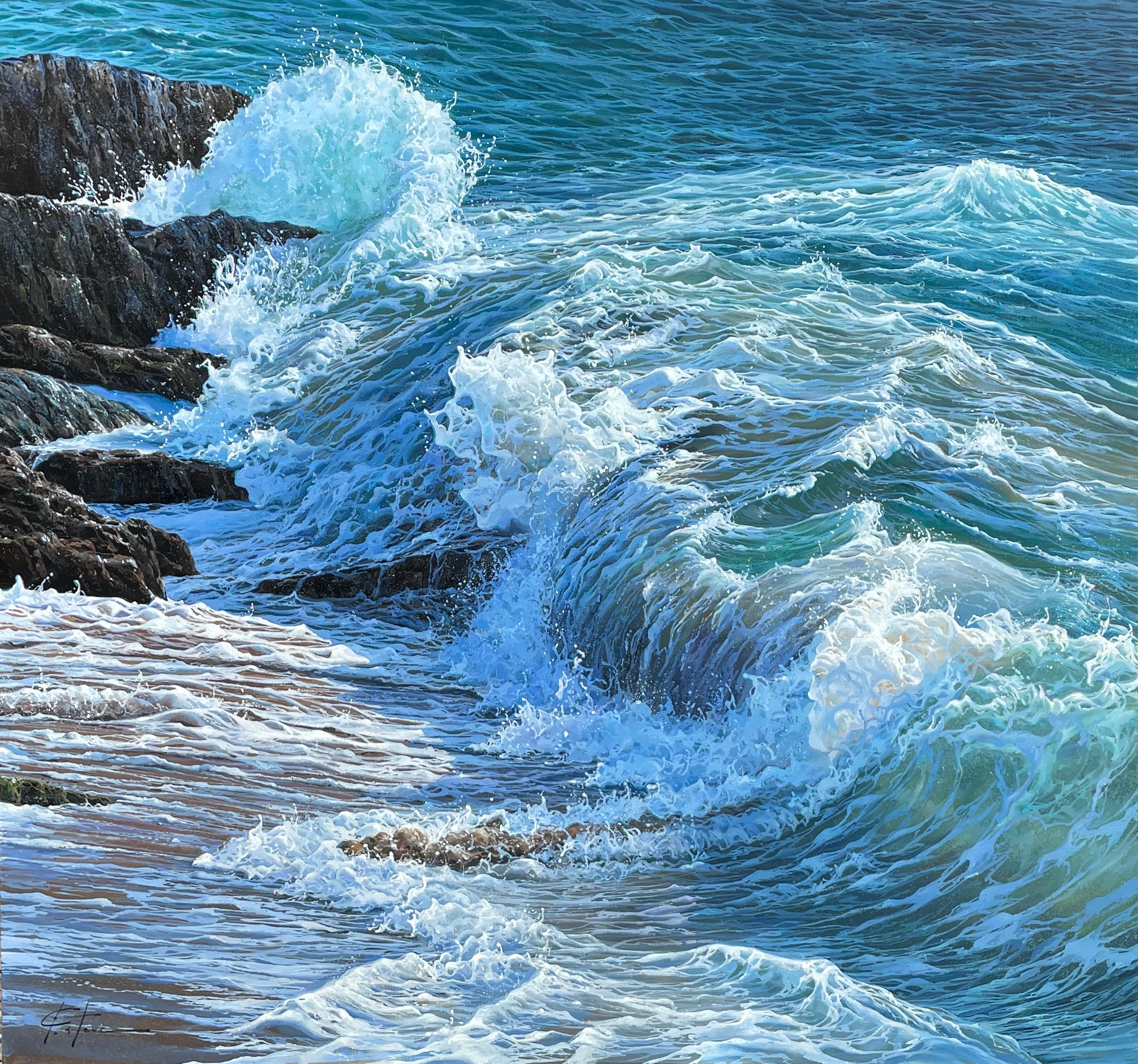 'Translucent Waters' Photorealist Contemporary seascape, wave painting, blue