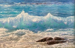 'Turquoise Dream' Seascape Hyperrealist painting. Blue crashing waves and rocks