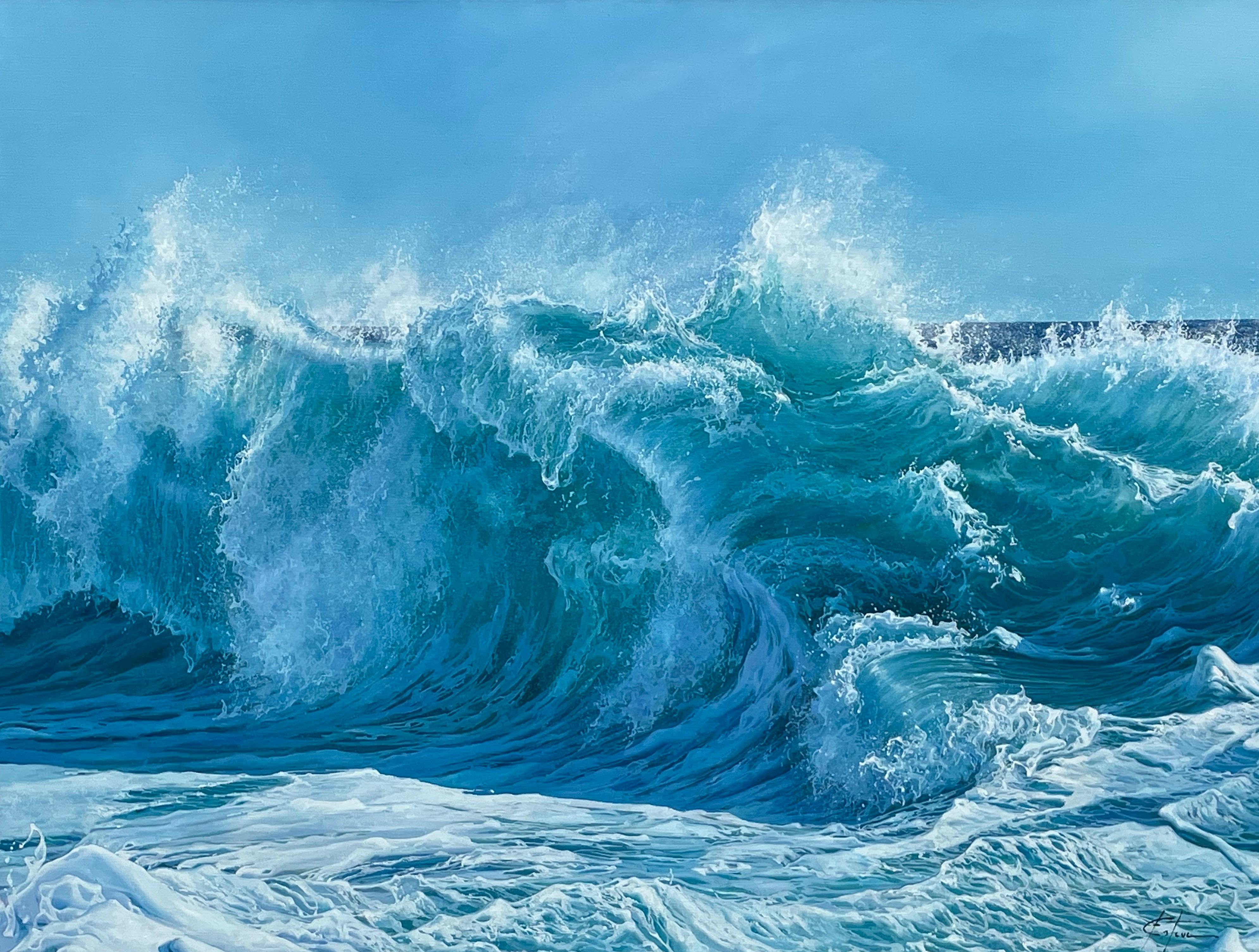 'Wild Blue' Hyperrealist wave painting of a crashing wave photographic by Esteve