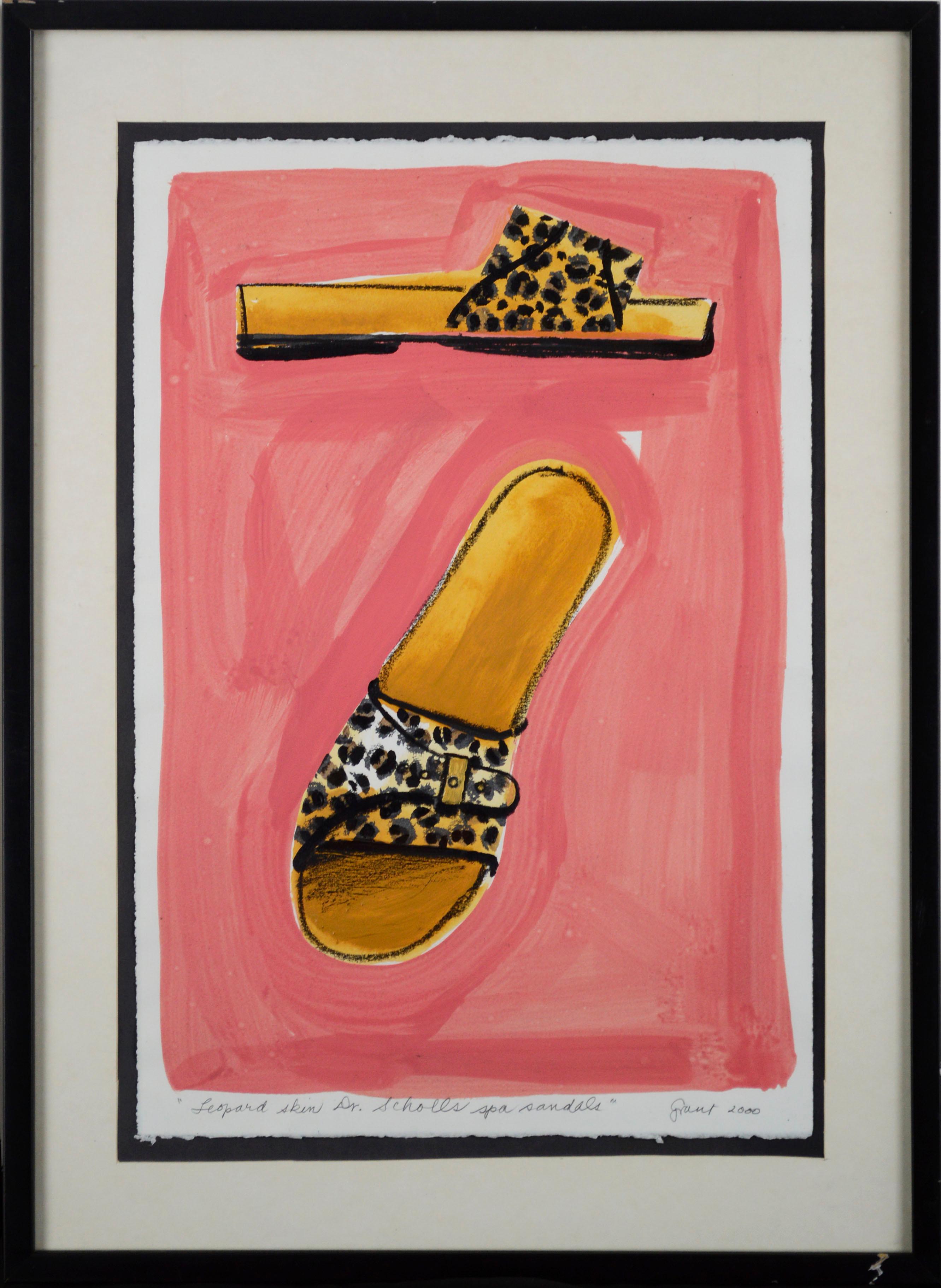 """Leopard Skin Dr. Scholl's Spa Sandals"" - Fashion Pop Art Still Life"