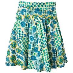 Marc Jacobs 2000s Blue Green Orange Cotton Low Rise Size 2 / 4 Skirt