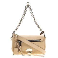 Marc Jacobs Beige Pebbled Leather Small Big Apple Gotham Shoulder Bag