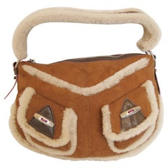 MARC JACOBS Beige Shearling Skin And Glossy Brown Leather Bag