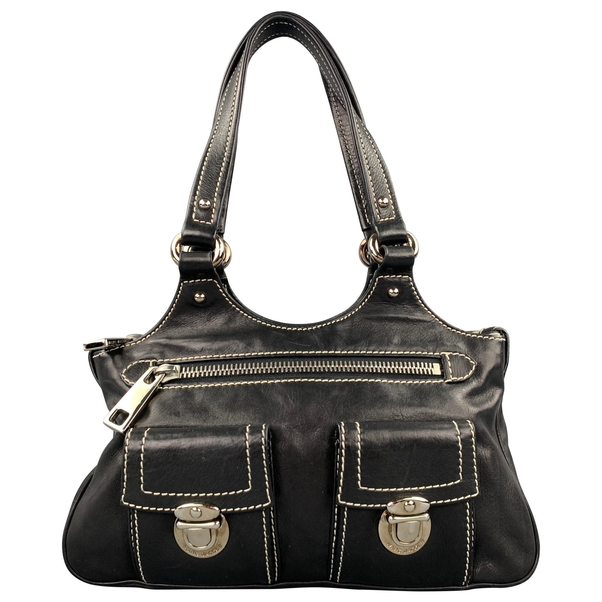MARC JACOBS Black Contrast Stitch Leather Top Handles Handbag