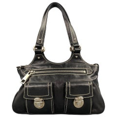MARC JACOBS Black Contrast Stitch Leather Top Handles Handbag