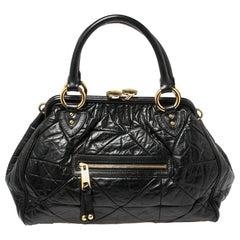 Marc Jacobs Black Crinkled Leather Stam Satchel