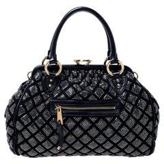 Marc Jacobs Black Crystal Embellished Quilted Leather Stam Satchel