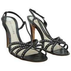 Marc Jacobs Black Crystal Strappy Leather Sandals