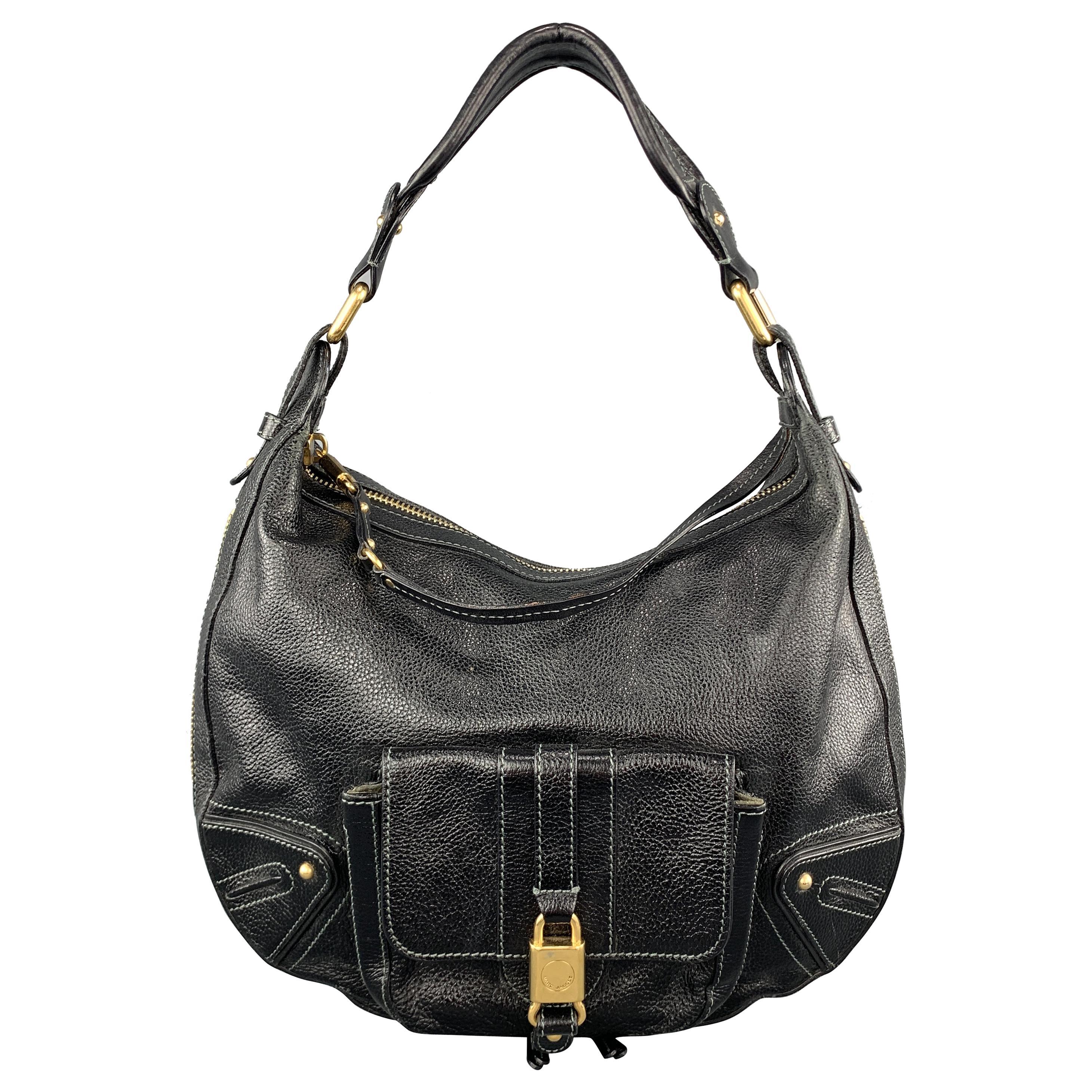 MARC JACOBS Black Leather Gold Tone Lock Zip Hobo Handbag