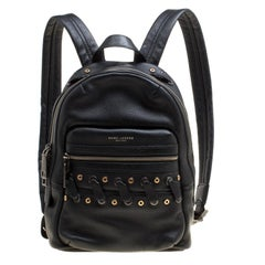 Marc Jacobs Black Leather Grommet Biker Backpack