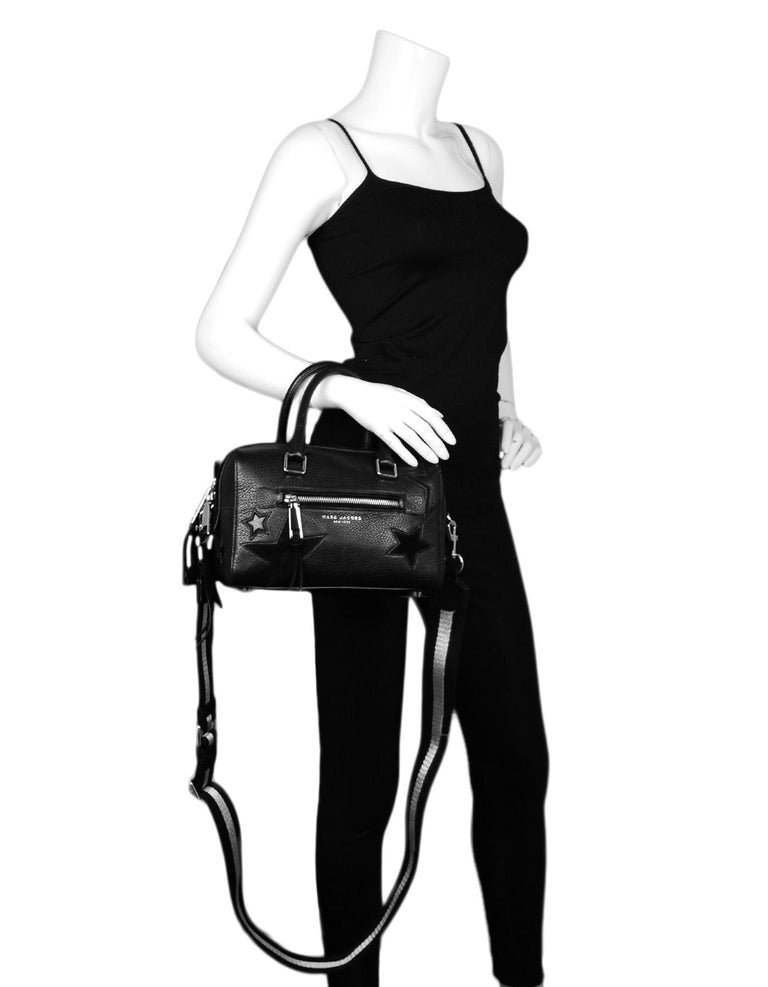 Marc Jacobs Black Leather Star Embroidered Boston Bag NWT. Features crossbody strap  Made In: Vietnam Color: Black  Hardware: Silvertone hardware Materials: Leather Lining: Black textile lining Closure/Opening: Zip top Exterior Pockets: Two slit