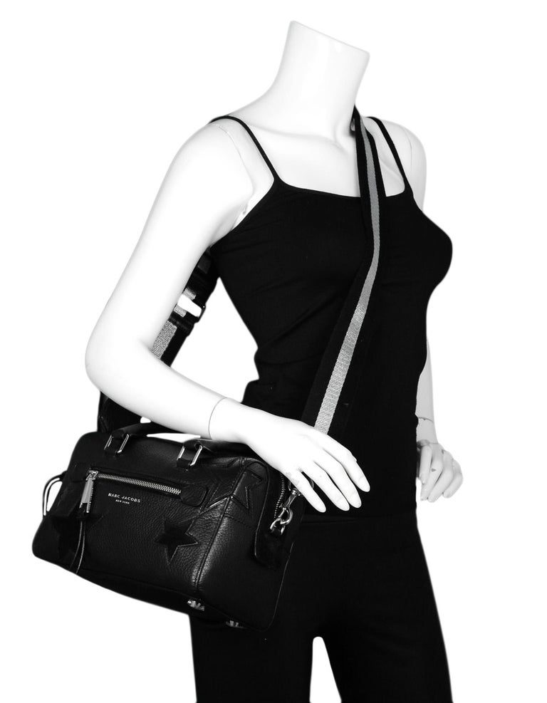 Marc Jacobs Black Leather Star Embroidered Boston Bag NWT rt $495 In New Condition In New York, NY