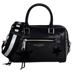 Marc Jacobs Black Leather Star Embroidered Boston Bag NWT rt $495