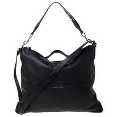 Marc Jacobs Black Leather The Grip Top Handle Bag