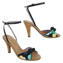 Marc Jacobs Black Patent Leather & Polka Dot Fabric Sandals Shoes, Sz 7.5